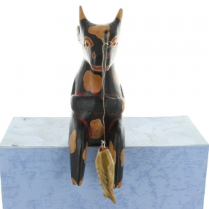Wooden Fishing Cow - Black With Brown Markings