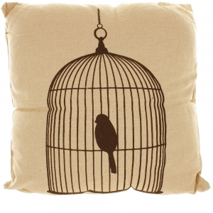 Natural Linen Look Cushion With Black Printed Design - Bird In A Cage