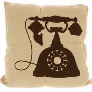 Natural Linen Look Cushion With Black Printed Design - Telephone