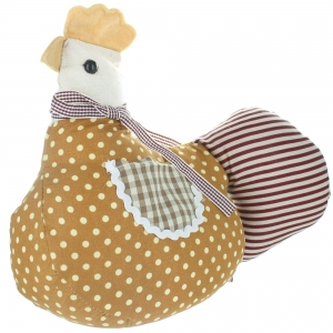 Cockerel Doorstop - Brown With Spots, Stripes And Checks