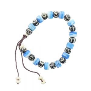 Cord and Bead Bracelet - Blue