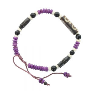 Cord and Bead Bracelet - Purple