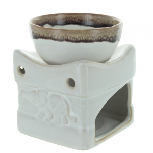 Cream And Brown Elephant Oil Burner