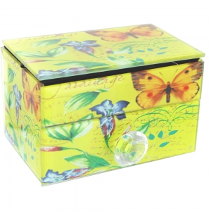 Vintage Design Jewellery Box - Yellow with Butterfly and Flower Design