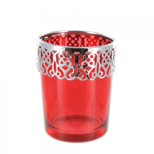 Tea Light Holder With A Lacey Metal Rim - Red