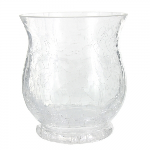 Crackle Glass Flared Top Tea Light Holder - Clear