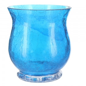 Crackle Glass Flared Top Tea Light Holder - Blue