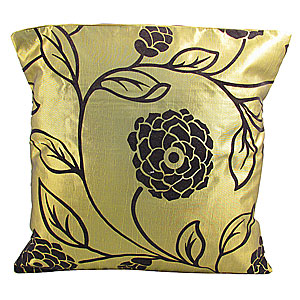 Wholesale Flock Cushion Cover Large Flower - Green