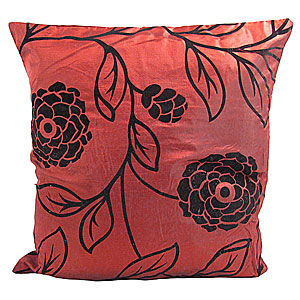 Wholesale Flock Cushion Cover Large Flower - Dark Red