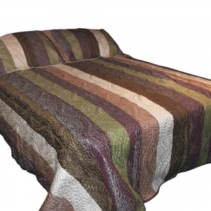Wholesale Silky Quilted Throw - Green, Brown, White And Purple
