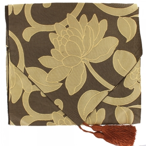 Flower Table Runner - Coffee And Brown