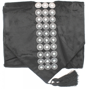 Silvery Disc Velvet Table Runner - Black