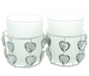 Heart Jewel Frosted Glass Tea Light Holders - Set of 2