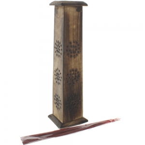 Antiqued Square Wooden Incense Tower