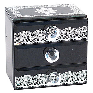 Wholesale Mirrored 3 Drawer Box - Silver