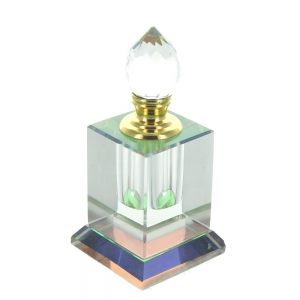 Wholesale Small Square Clear Glass Perfume Bottle With Faceted Glass Stopper