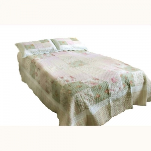 Wholesale Pink, Green and Cream Vintage Quilted Throw