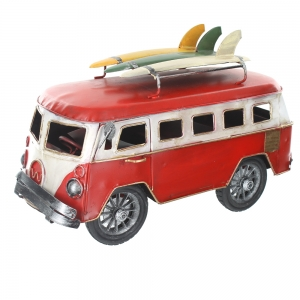 Wholesale Retro Shabby Chic Camper Van With Surfboards On Roof Rack- Red