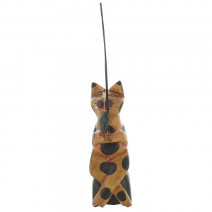 Wooden Cat Sitting On A Rock Fishing - Brown With Black Patches