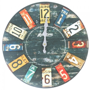 Shabby Chic Wooden Battery Operated Wall Clock - Hometime, American Licence Plate Design
