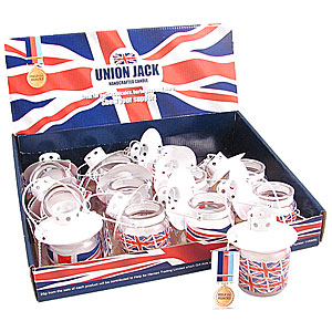 Wholesale Union Jack Hanging Candle in Glass