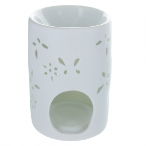 White Butterfly Design Oil Burner With Flower Cut Outs