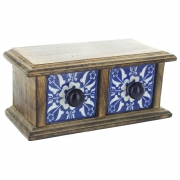 Small 2 Drawer Wood And Ceramic Chest With Lip - Blue