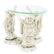 Three Figure Resin Oil Burner - White Laughing Fat Buddhas