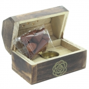 Wholesale Mini Box Cone Burner - Mango Wood Gold Rose