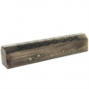 Wholesale Mango Wood Incense Holder Ash Catcher Box - Moon and Vine
