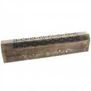 Wholesale Mango Wood Incense Holder Ash Catcher Box - Pentagram and Vine