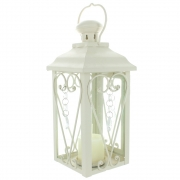 Wholesale Square Jewelled Candle Lantern - Cream