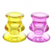 Wholesale Pair of Glass Candle Sticks - Yellow and Pink