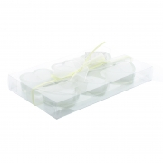 Glass Heart Tea Lights - White (Set 6)