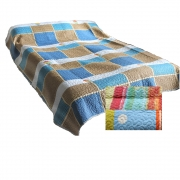 Wholesale Blue And Brown Quilted Throw