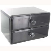 Wholesale Black Glass 2 Drawer Box