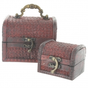 Basket Weave Design Small Treasure Chests - Set of 2