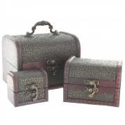 Swirl Design Treasure Chests - Set of 3