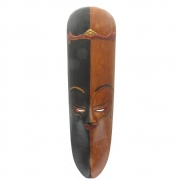 Javan Style Long Wooden Mask - Black And Brown