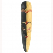 Javan Style Long Wooden Mask - Black And Light Brown