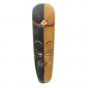 Javan Style Long Wooden Mask - Black And Mid Brown
