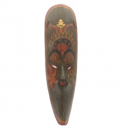 Javan Style Long Wooden Mask - Olive Green Antiqued