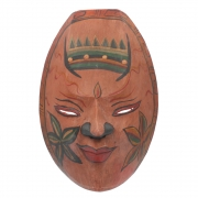 Javan Style Standard Wooden Mask - Antiqued Earth