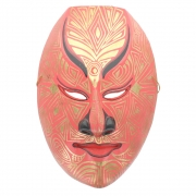Javan Style Standard Wooden Mask - Red and Gold Design