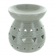 Light Grey Aztec Round Oil Burner