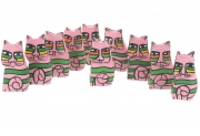 Wholesale Set of 10 Tiny Pink Pop Art Sitting Wooden Cats