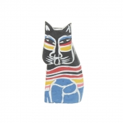 Wholesale Small Pop Art Sitting Wooden Cat - 6 Black
