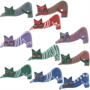 Wholesale Pop Art Stretching Wooden Cat - 5 Assorted