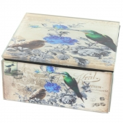 Vintage Design Small Box - Bird and Flower Design