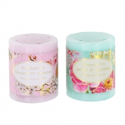 Bird and Flower Small Pillar Candle